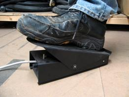 TIG welding foot pedal in operation