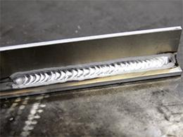 A piece of TIG welded aluminium