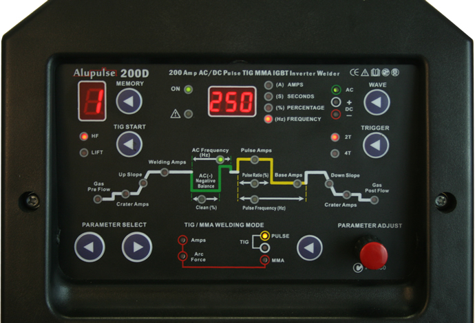 Digital ACDC Tig welder control panel