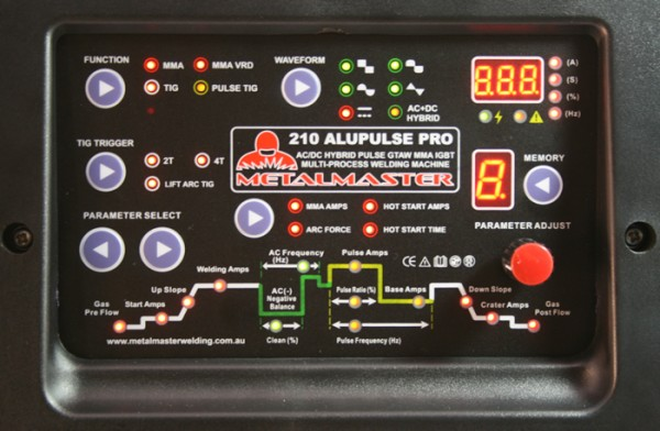 AC DC Tig Welder Digital control panel the Metalmaster 210Pro from Tokentools Pty Ltd